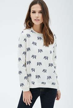 Elephant Print Pullover-I'm kind of in love with animal prints this month