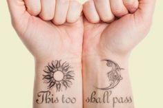 23 Inspiring This Too Shall Pass Tattoo Designs Sun Tattoos, Arrow Tattoos, Feather Tattoos, Body Art Tattoos, Tattoos For Guys, Tattoos For Women, Cool Tattoos, Tattoo Art, Crazy Tattoos