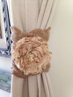 Curtain tie back by RusticChicTogether on Etsy