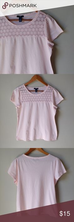 Gap Light Pink Floral Lace Top Cute top for spring and summer in excellent condition! See photo for measurements.  🌻Check out my daughter's closet too! @mrwidmer GAP Tops Tees - Short Sleeve