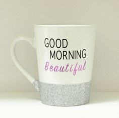 """Good Morning Beautiful Glitter Dipped Coffee Mug Handmade item! Black/purple vinyl """"Good Morning Beautiful"""" quote with silver glitter around the bottom. The glitter has been sealed so it won't be making a mess! It's brand new never used, but doesn't have any kind of tags.   Care instructions: Gently hand wash only.  Don't scrub, soak in water or put in dishwasher or microwave. none Other"""