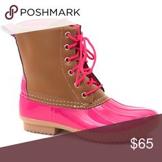 Duck Boots This listing is for pink. These are selling like crazy for fall  $65 each or $110 for 2 pairs. Other colors available  Select lining in each boot to keep you comfy. Stitched synthetic rubber sole for durability and grip  Price FIRM unless bundled. Shoes Winter & Rain Boots