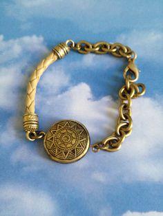 Leather Chain and Disc Bracelet by joytoyou41 on Etsy, $40.00