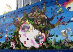 Sao Paulo street art - Os Gêmeos and Nina Pandolfo