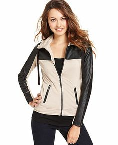 Kensie Jacket, Long-Sleeve Quilted Faux-Leather