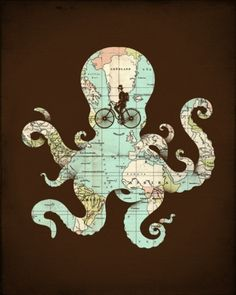 "This graphic illustrates one of my dreams—to have my ""tentacles"" all around the world.  I want to travel and learn everything there is to know about different countries.  I want to influence cultures just as much as they influence me."