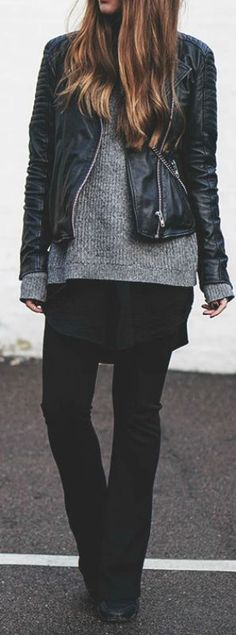 Michelle Nielsen wears a cute leather jacket over knitwear combination, pulling the look together with skinny cigarette trousers and plain black brogues. We recommend this look for everyday style. Brands Not Specified. Cute Fall Outfits.... | Style Inspiration