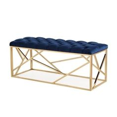 Tov Furniture Skylar Navy Blue Long Bench Tov Home Decor Furniture Ottomans And Benches Home Decor Furniture, Modern Furniture, Blue Furniture, Furniture Outlet, Online Furniture, Gold Bench, Velvet Furniture, Tufted Bench, Ottoman Footstool