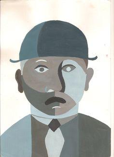 1A 1B: kubistisch portret: plakkaatverf, 1 hoofdkleur (c, m of y) mengen met wit en zwart, tinten en tonen