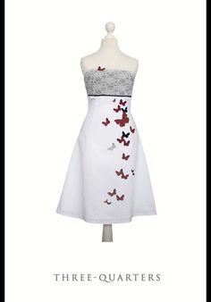 Entdecke lässige und festliche Kleider: LILOU - Brautkleid, weiß, Schmetterlinge, Spitze made by THREE.QUARTERS via DaWanda.com