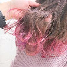 ピンクとムラサキが毛先に混ざってるんです#gradationcolor #gradation #highlight #long hair…
