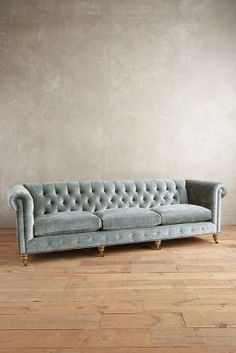 Anthropologie Slub Velvet Grand Lyre Chesterfield Sofa, Wilcox