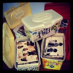 Huggies Wipe containers - perfect for 4x6 photo prints!  And the goal is to actually *finish* my kids' scrapbooks before these Wipe containers take over my closet....