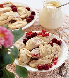 """""""Vareniki"""" with cherry (dessert perogies!) - a very famous Russian dish and very yummy"""