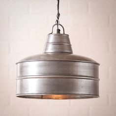 Industrial Farmhouse BAKER Pendant Light in Antique Brush Tin Finish .A large, Industrial Baker pendant light to add charm to your home in any room A utilita Farmhouse Dining Room Lighting, Farmhouse Pendant Lighting, Farmhouse Lamps, Industrial Farmhouse, Modern Farmhouse, Kitchen Lighting, Cottage Lighting, Farmhouse Design, Farmhouse Style