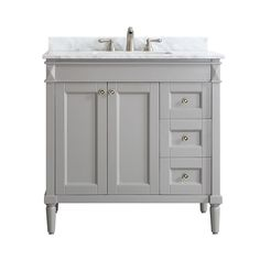 Shop for Catania Grey/White Carrara Marble Top Single Vanity. Get free delivery On EVERYTHING* Overstock - Your Online Furniture Outlet Store! 36 Bathroom Vanity, 36 Vanity, Small Bathroom, Bathroom Ideas, Bathrooms, Downstairs Bathroom, Marble Vanity Tops, Marble Top, Carrara Marble