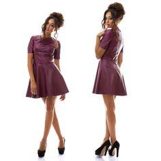 Stylish ladies burgundy leather pouf dress #dress