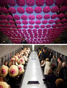 Raising awareness about breast cancer: umbrella installation in Bulgaria vs. a breast-clad flash mob in London.
