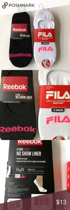 New Bundle of Women's Reebok/ Fila No Show Socks Condition:  NWT Size:  Shoe 4-10 both Reebok & Fila Color:  Black & White Material:  Polyester & Spandex  Details:  No Show. Ultra low invisible Socks Reebok Accessories Hosiery & Socks