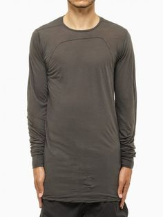 Long sleeve tee from F/W2014-15 Rick Owens DRK SHDW collection in dark dust