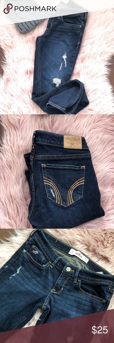 Dark wash distressed jeans Like new Hollister Jeans Skinny