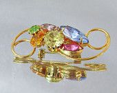 Vintage Brooch Rhinestones Pink Gold Yellow Cerulean Blue Peridot Green Amethyst Purple
