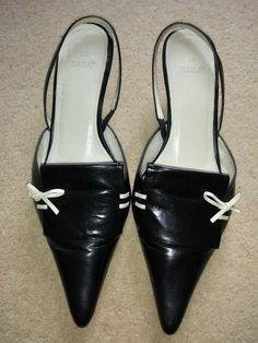 9cd17fc4d9d6 Zara Black White bow Leather Sling Back kitten heel Shoes Size 5 EU 38 vgc -