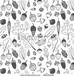 Hand Drawn Fall Acorns And Oak Leaves Background Pattern.Black And ...