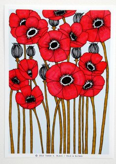 The Red Poppies  Illustration by Taren S Black by osloANDalfred,pinned by www.funkyfabrix.com.au: