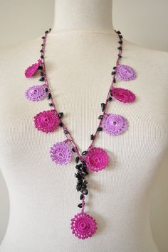Lace (Turkish Oya) Necklace With Purple Flowers and Black Stones