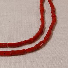 Red coral tubes 4x14 mm irregular