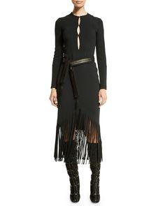 Long-Sleeve Fringe-Hem Belted Dress, Black