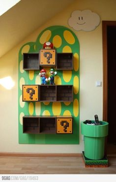 Furniture, Cool Bookcases, Perfect for Smart Storage System and Interior Decorating Ideas: Cool Interesting Mario Bros Themed Kids Room Wall. Creative Bookshelves, Bookshelves Kids, Book Shelves, Wall Shelves, Cube Shelves, Storage Shelves, Storage Cubes, Toy Storage, Classic Bookshelves