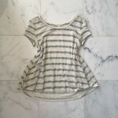 """🆕 NWOT """"Tigress"""" knit top A-line knit top with cream and silver stripes Boutique Tops Tees - Short Sleeve"""