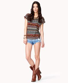 Multicolored Tribal Print Top | FOREVER 21 - 2036983437