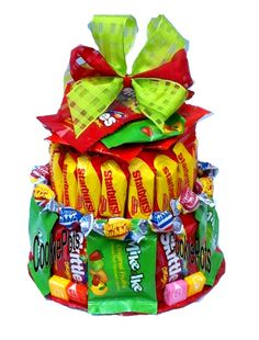 Not to worry, this Sweet n Sour Candy Cake omits the chocolate and uses other candy confections like starburst, skittles, Mike and Ike, etc. Candy Bar Bouquet, Cookie Bouquet, Candy Cakes, Cupcake Cakes, Cupcakes, Food Gifts, Craft Gifts, Chocolates, Mike And Ike