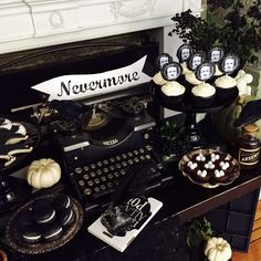 Spooky display at an Edgar Allan Poe Halloween  party! See more party planning ideas at CatchMyParty.com!