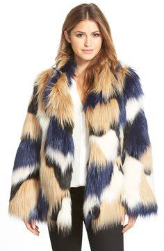 Trina Turk 'Makayla' Patchwork Faux Fur Coat - Copenhagen Fashion Week