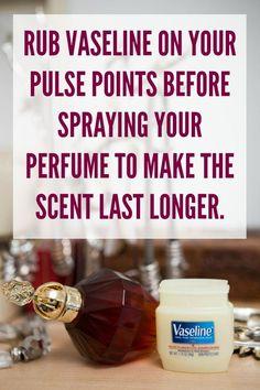 Rub vaseline to make perfume scent last longer.  | Beauty Hacks DIY Lifehacks