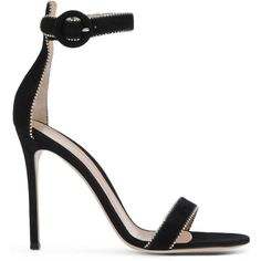 Gianvito Rossi Sandals (1 170 AUD) ❤ liked on Polyvore featuring shoes, sandals, black, gianvito rossi, leather buckle sandals, ankle wrap sandals, black ankle strap shoes, black leather sandals and black sandals