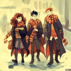 """We were rewatching HP recently, and I had suuuch a strong nostalgia towards these magical times….so I absolutely had to draw the trio back in the days when stuff was just starting to go down:"""")"""