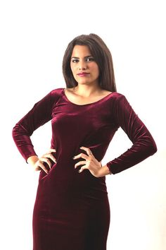 Feel the romance in this claret velvet dress, worn by the beautiful Mexican Carla x
