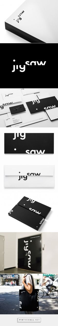 Jigsaw | New at Pentagram curated by Packaging Diva PD double wow packaging branding in black and white.