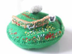 Tiny felt & cross-stitch pin cushion hill_ Lambkin Hill by Sakoran