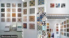 Cement tiles showroom in Madrid - Espagne Like the framed tile
