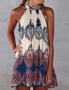 5110390490   14.69  Women s Boho Holiday Boho Loose Dress Print Halter Neck Summer  Brown M L XL