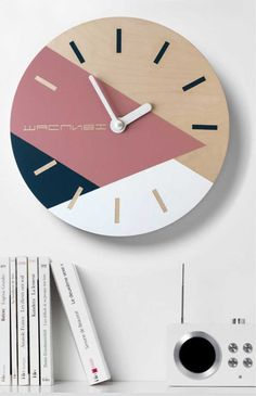 Geometric wall clock with colorful triangels Dark blue pale pink white wall decor Minimalist wall art Personalized wall clock Wooden Clock, Wooden Decor, Clock Painting, Diy Clock, Clock Ideas, Wall Art Crafts, White Wall Decor, Retro Clock, Wall Clock Design