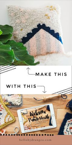 How to make a punch needle pillow - find the tutorial and more in my brand new o. - Woven~Embroidery - How to make a punch needle pillow – find the tutorial and more in my brand new online video class - Yarn Crafts, Sewing Crafts, Paper Crafts, Sewing Projects, Mason Jar Crafts, Mason Jar Diy, Needle Cushion, Hydrangea, Tissue Paper Flowers