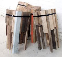 reclaimed wood for bar stools. AWESOME.