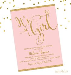 Baby Shower Invitation  It's a Girl Invite  Blush by InkandBliss